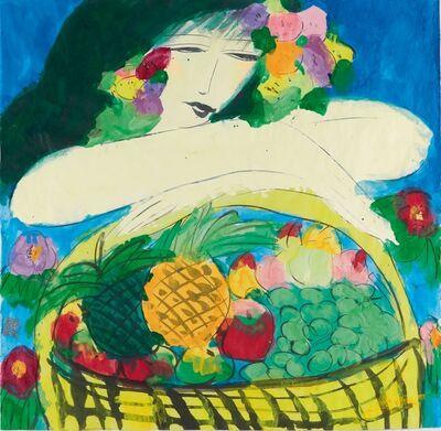 Walasse Ting 丁雄泉, 'Woman with Fruitbasket', 1985