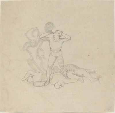 John Flaxman, 'Figure Standing over Corpses, Blowing a Horn', in or after 1795