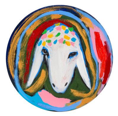 Menashe Kadishman, 'Menashe Kadishman, Sheep head 25, circular painting', 1980-1990