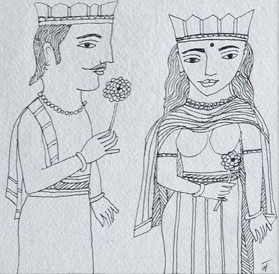 "Badri Narayan, '50th Wedding Anniversary, Drawing Pen & Ink on Paper by Padmashree Artist ""In Stock""', 2008"