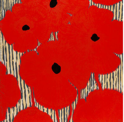 Donald Sultan, 'Red flowers with Striped Background', 2002