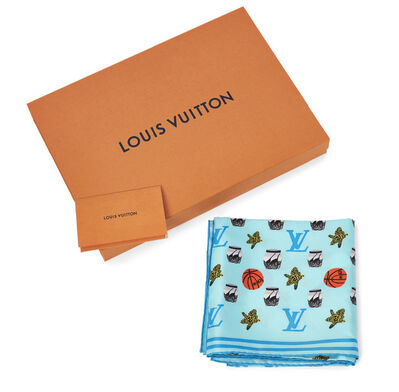 Jonas Wood X Louis Vuitton, 'Monogram Square Scarf (blue)', 2019