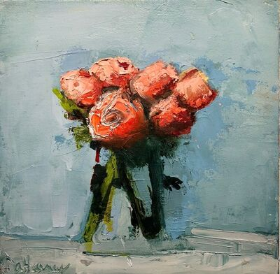 """Anne Harney, '""""Ranunculus"""" painterly still life of orange-red flowers in a clear vase on pale blue background', 2010-2018"""