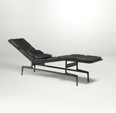Charles and Ray Eames, 'An ES 106 chaise longue with a lacquered aluminum structure and leather upholstery', 1968