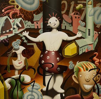 Rupert Gatfield, 'Three Figures, Original, surreal, the new religion, oil paint, linen, Signed', 2017