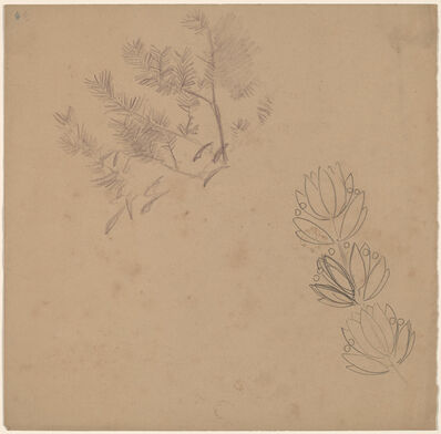 Charles Sprague Pearce, 'Study for a Border Design with a Sketch of a Tree', 1890/1897