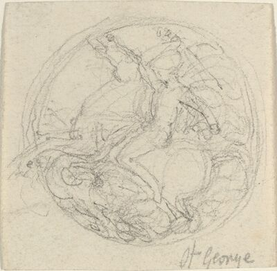 John Flaxman, 'Design for a Medal Representing Saint George and the Dragon'