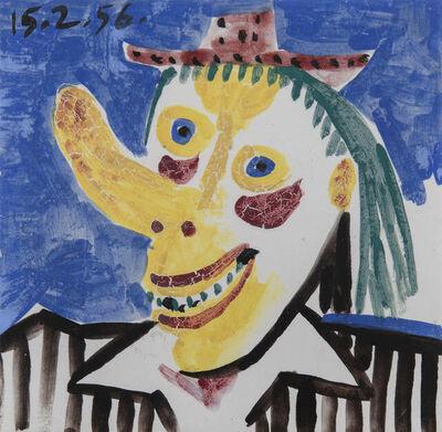 Pablo Picasso, 'Tête de clown, fond bleu', 1956