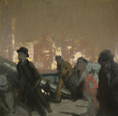 Charles Hoffbauer, 'Night Walkers on the Bridge'