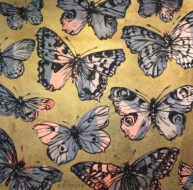David Bromley, 'Take flight II Butterflies on gold leafing ', 2018