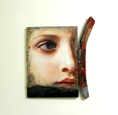 Francesco Minuti, 'Portrait of young wman on driftwood: 'Migrazioni dell'anima ( Polene)'', 2020