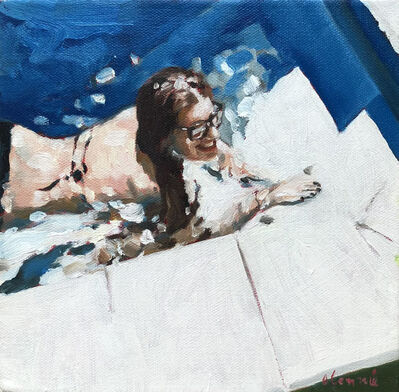 """Elizabeth Lennie, '""""Study for Michaela's Pool"""" oil painting of a woman in the pool with sunglasses', 2012"""