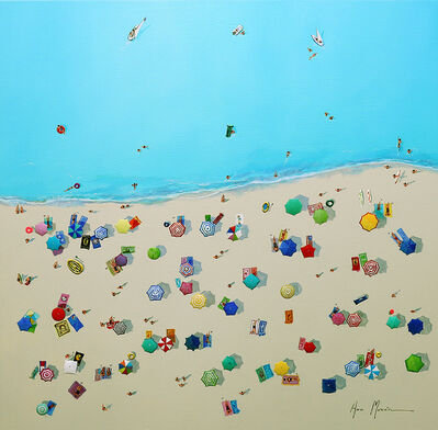 Ana Moran, '''Summer Recreation'' Oil painting of aerial view of colorful umbrellas and people on the beach with turquoise sea ', 2019