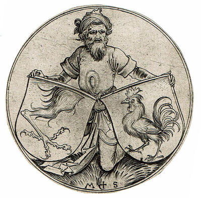 Martin Schongauer, 'Two Shields Supported by an Oriental', not dated