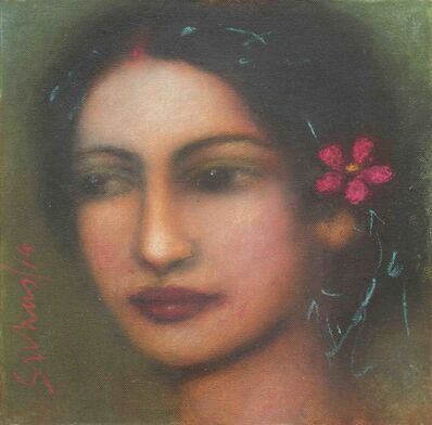 Suhas Roy, 'Radha, Mysterious, Ethereal, Godlike, Oil on Canvas by Modern Indian Artist', 2014