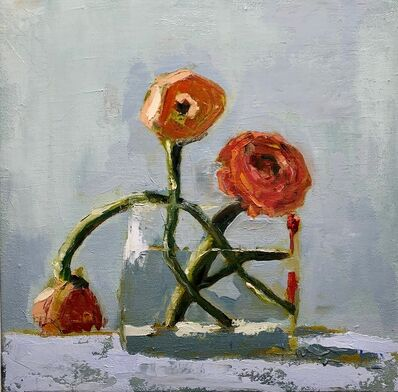 """Anne Harney, '""""Red Ranunculus"""" painterly still life of orange-red flowers in a clear vase', 2010-2018"""