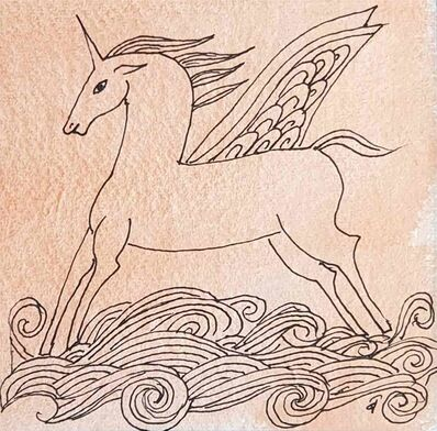"Badri Narayan, 'The Winged Unicorn, Drawing, Pen & Watercolour on Paper by Padmashree Modern Artist ""In Stock""', 2008"