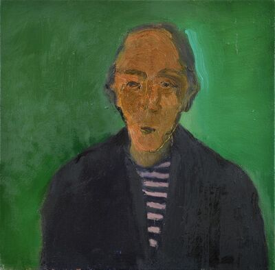 Jennifer Hornyak, 'Man with Striped Shirt - green, male portrait figurative still life oil painting', 2014