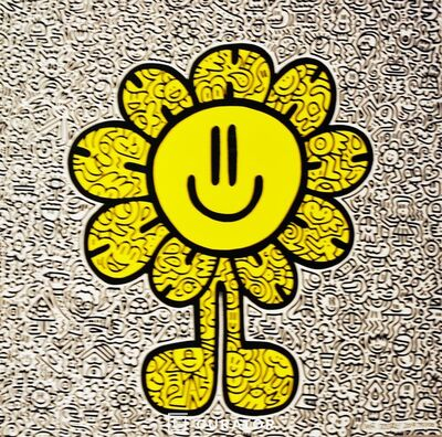 Mr. Doodle, 'Yellow Flower', 2019