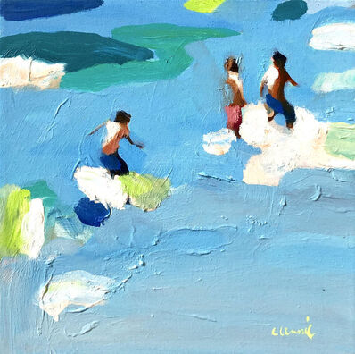 "Elizabeth Lennie, '""Spring Break 2"" abstract figurative oil painting of figures in blue/green water', 2019"