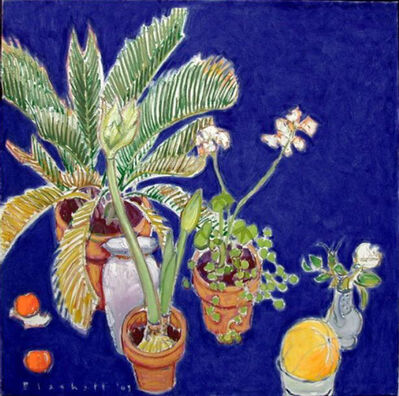 Joseph Plaskett, 'White Amaryllis, Palm and Melon'