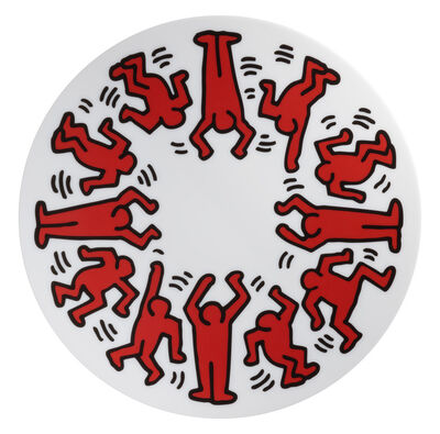 Keith Haring, 'Red on White Plate', 2018