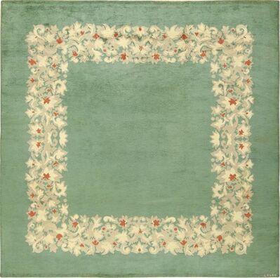 Jules Leleu, 'Antique Green Color Square French Art Deco Rug by Leleu', ca. 1920