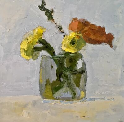 """Anne Harney, '""""Mums"""" oil painting of orange and yellow mums on a glass in a painterly style', 2018"""