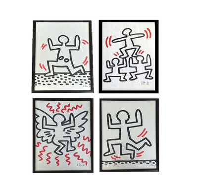 Keith Haring, 'SET OF 4- Bayer Suite, Sali-Adalat, Edition of 70, Offset Lithograph on Glassine Paper, Museum Quality.', 1982
