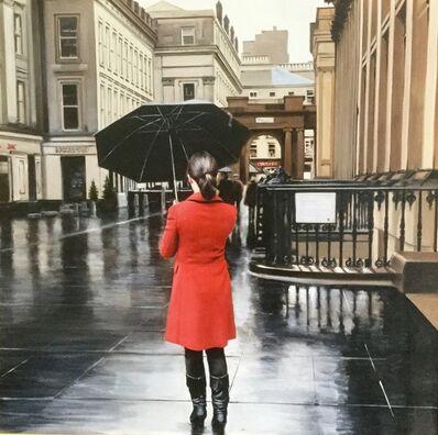 Gerard Burns, 'Red Coat on Royal Exchange Square', 2019