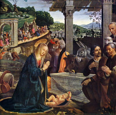 Domenico Ghirlandaio, 'Nativity and Adoration of the Shepherds, Sassetti Chapel panel, altarpiece', 1485