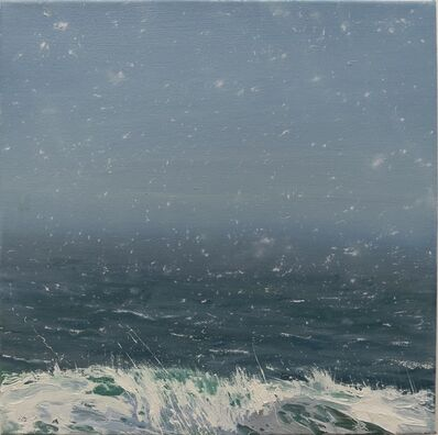 "Annie Wildey, '""Spring Flurries"" oil painting of light snow over a dark blue and gray ocean', 2010-2017"