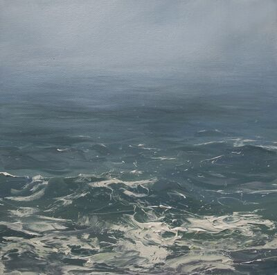 "Annie Wildey, '""Haze on the Horizon"" oil painting of haze over blue green ocean water', 2010-2017"
