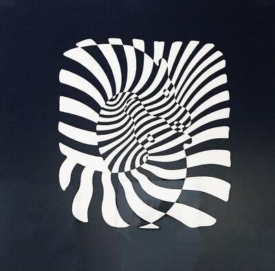 Victor Vasarely, 'Zebra Heads (White on black)'