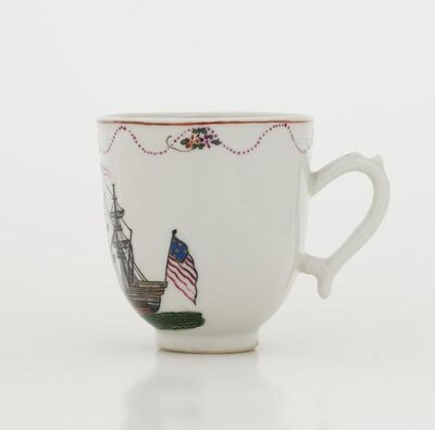 'Coffee Cup, Teacup and Saucer with American Flag Pattern', about 1790