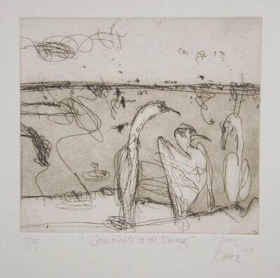 John Olsen (b.1928), 'Cormorants at the Barrage', 2004