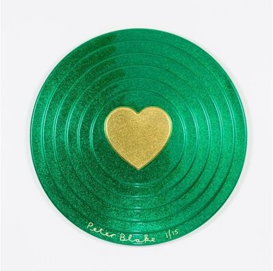 Peter Blake, 'Heart Target in Green and Gold', 2017