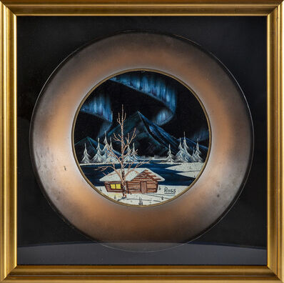 Bob Ross, 'Bob Ross Signed Original Alaskan Northern Lights and Mountain Cabin Painting on Velvet inside Gold Pan Contemporary Art', 1970-1985
