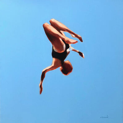 "Elizabeth Lennie, '""Blue Skies 1"" Oil painting of a girl flipping in the air with blue sky behind', 2020"