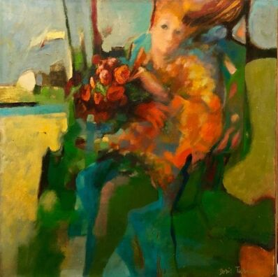 Doris Turner, 'Autumn Wind, Large American Modernist Oil Painting Woman with Flowers', 1970-1979