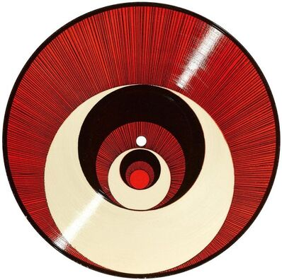 "Marcel Duchamp, 'Rotorelief (Optical Disc) ""Corelles"" (red and black)', 1935"