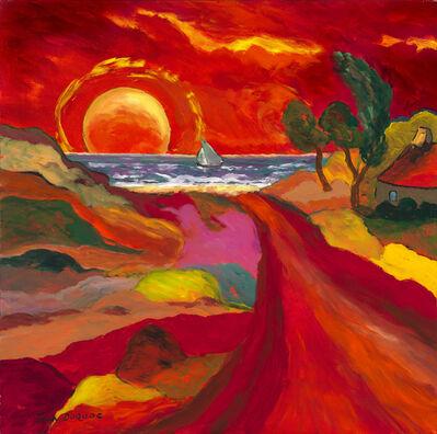 """Jean Duquoc, '""""La voile grise""""  --- Brittany, France, Expressionist, fields, landscape, ocean, sailing, sun', 2018"""