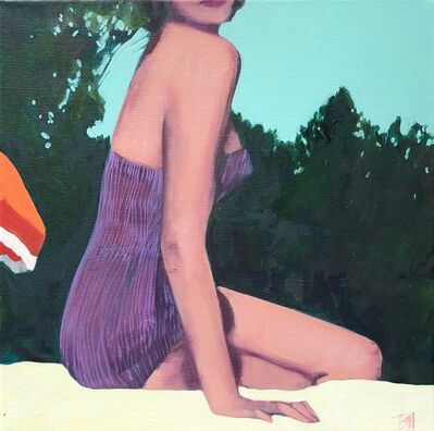 "T.S. Harris, '""Summer Swim"" oil painting of a woman in purple bathing suit with trees in back', 2020"