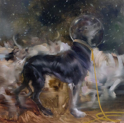 "Sarah McRae Morton, 'Laika in the Stars Oil on panel 18"" x 18"" $4,800'"