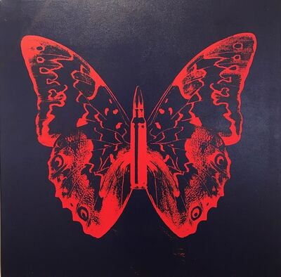 Rubem Robierb, 'Butterfly II (Blood orange on dark blue)', 2016