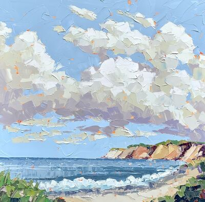"Paul Norwood, '""Clay"" abstract impasto landscape painting of the cliffs on a beach with clouds', 2020"