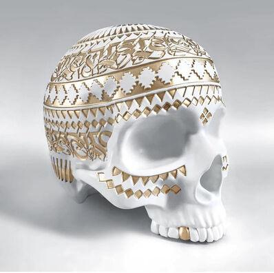 """Cryptik, '""""Memento Mori"""" White Skull Sculpture', 2018"""
