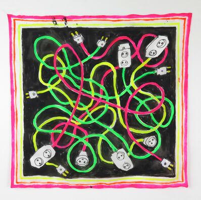 Rose Eken, 'Cables in Neon - Unique handpainted silk scarf ', 2019