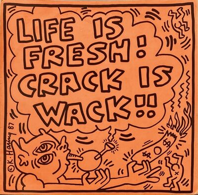 Keith Haring, 'Keith Haring Crack Is Wack record art ', 1987