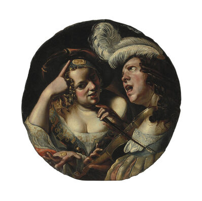 Angelo Caroselli, 'A woman with coins and a man making music and singing'
